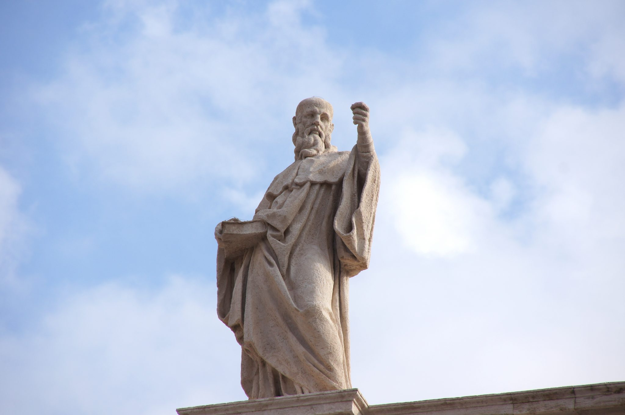 statue on the peters dome in rome
