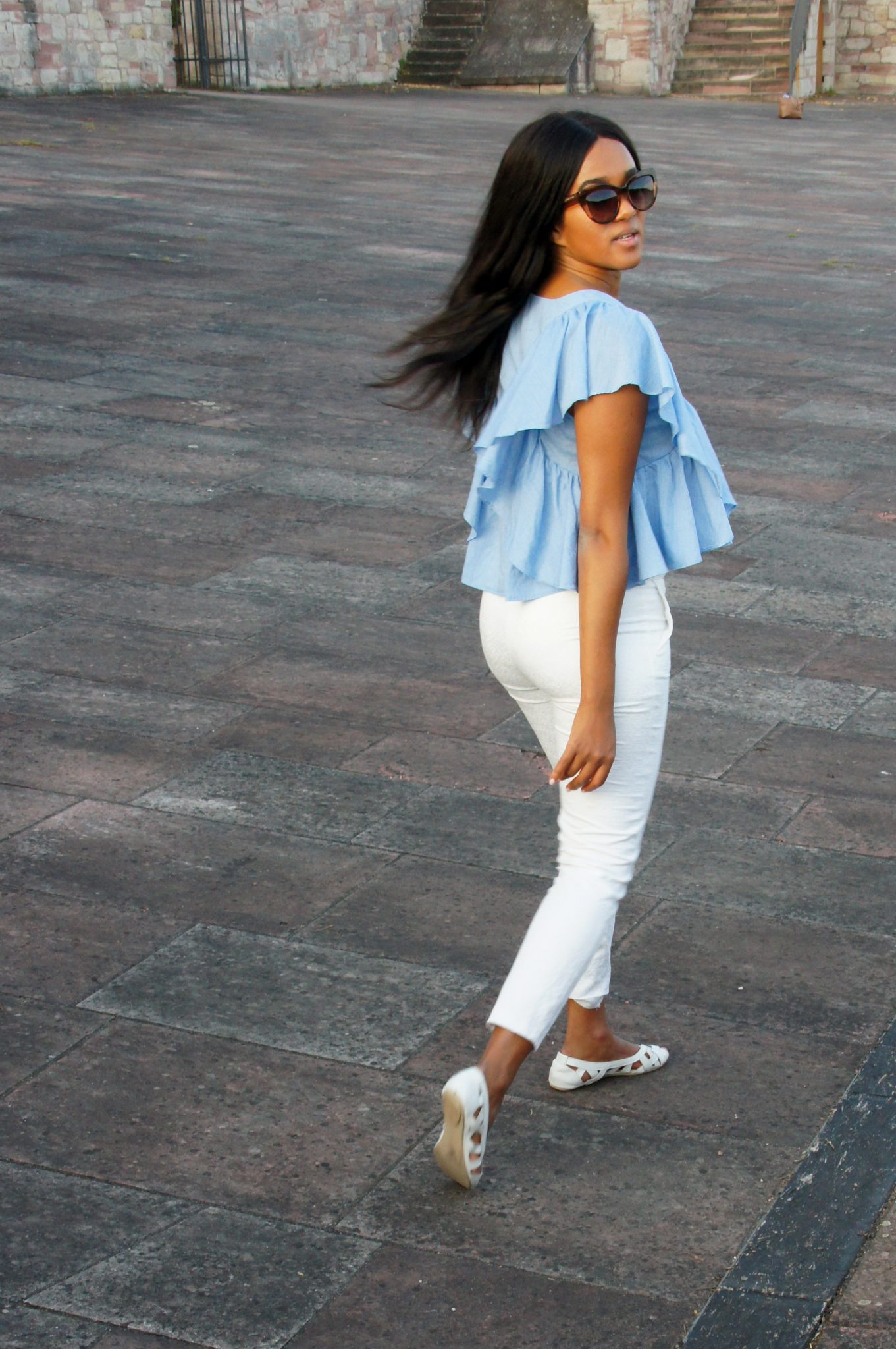 Wearing a blue and white outfit in summer