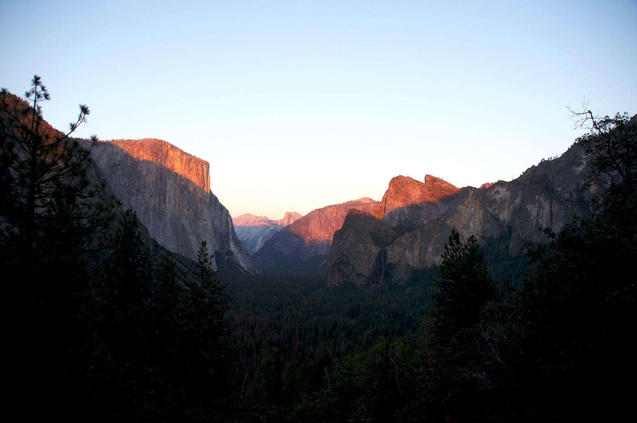 sunset in the Yosemite national park