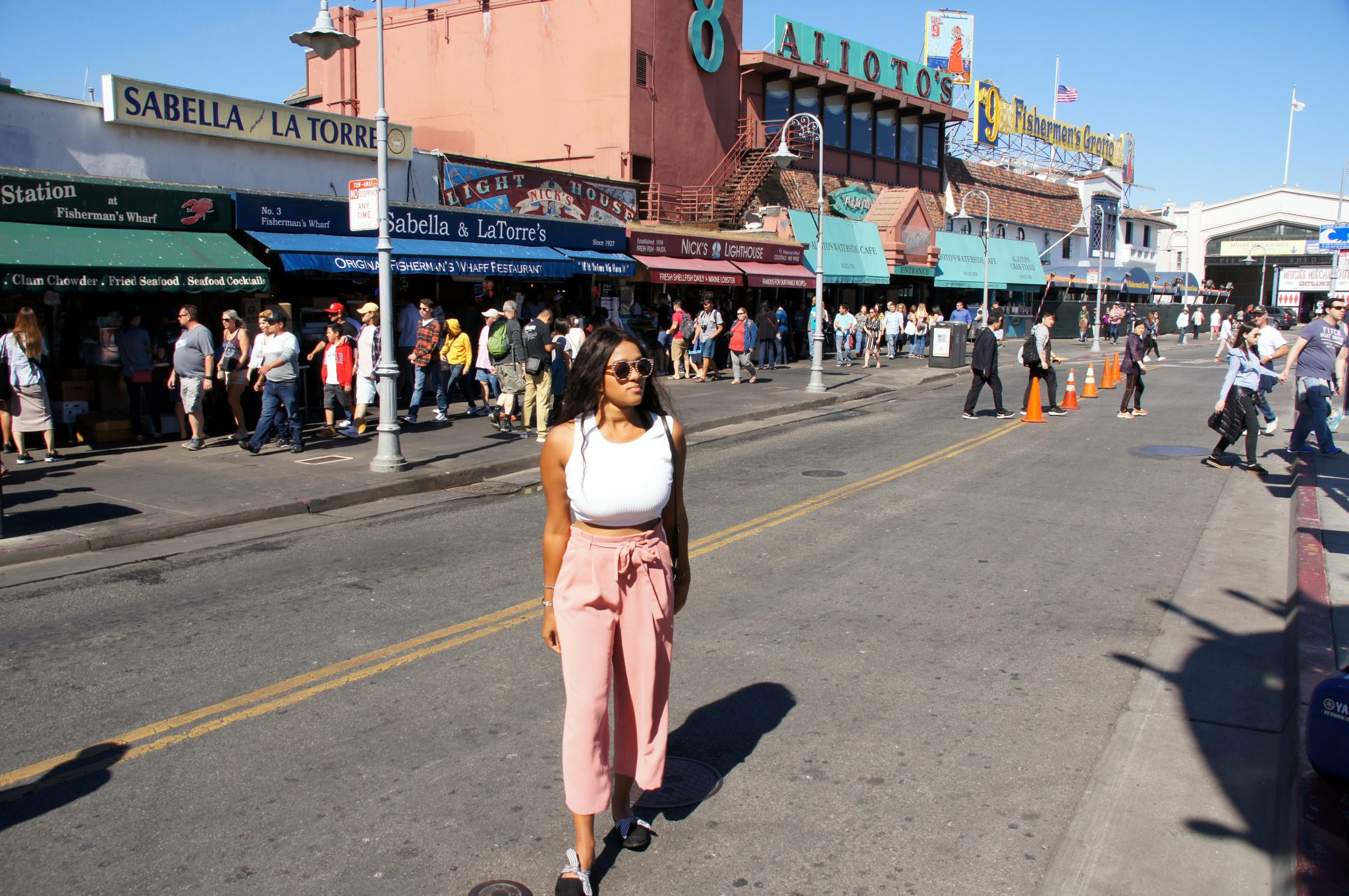 me strolling around in Fishermans Wharf, port of San Francisco