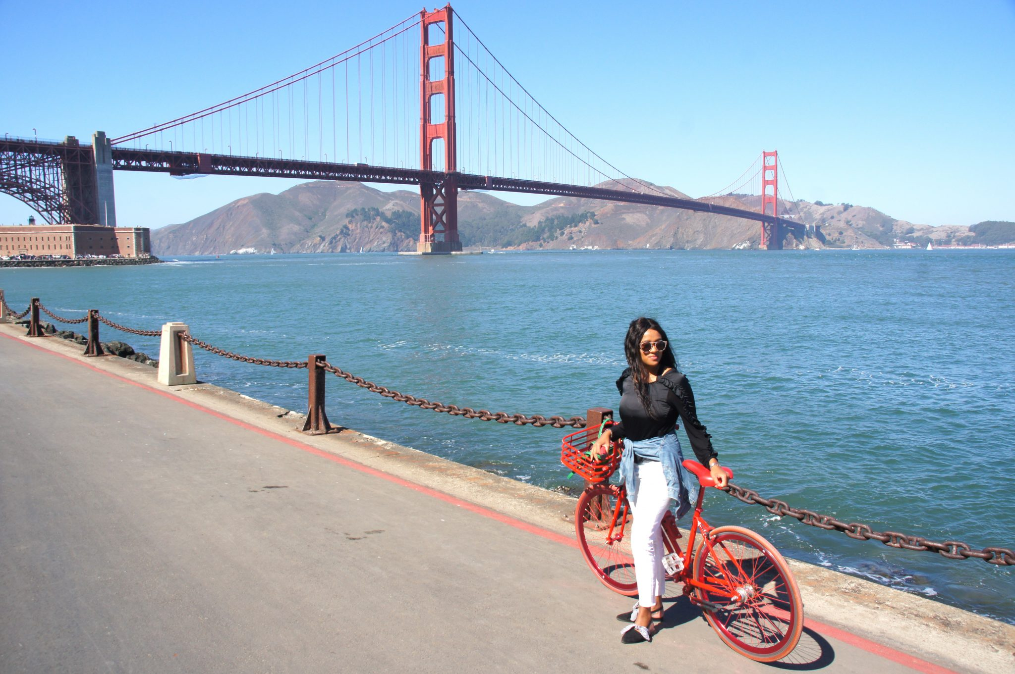 Me with bike at the Golden Gate Bridge in San Francisco