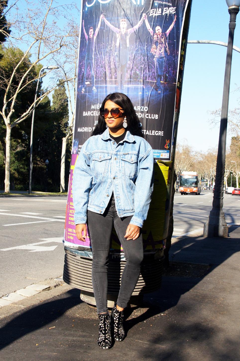 Me wearing my vintage denim jacket in Barcelona