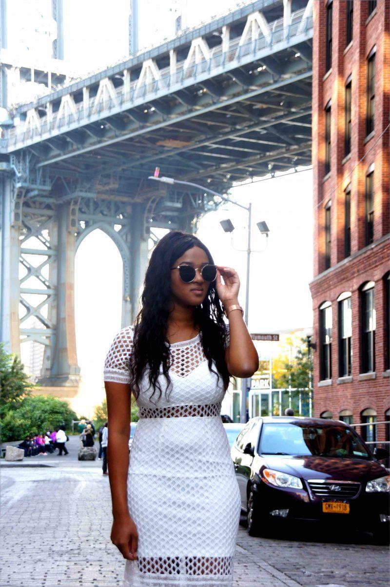 Me wearing a white lace dress