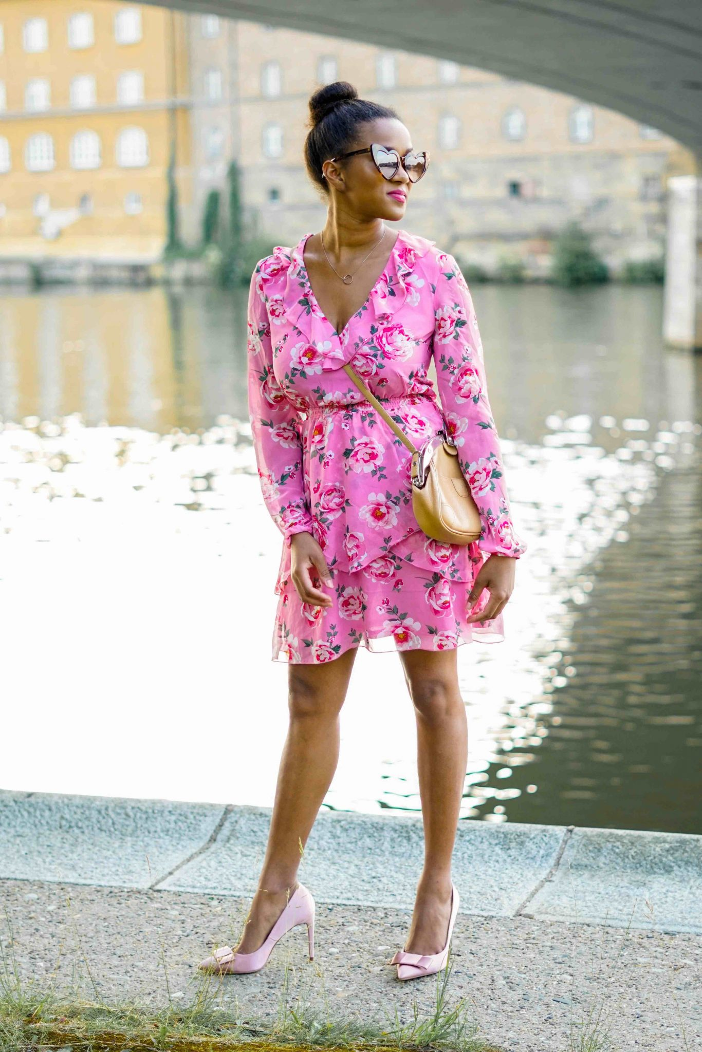 floral rosa volant dress summer plissee