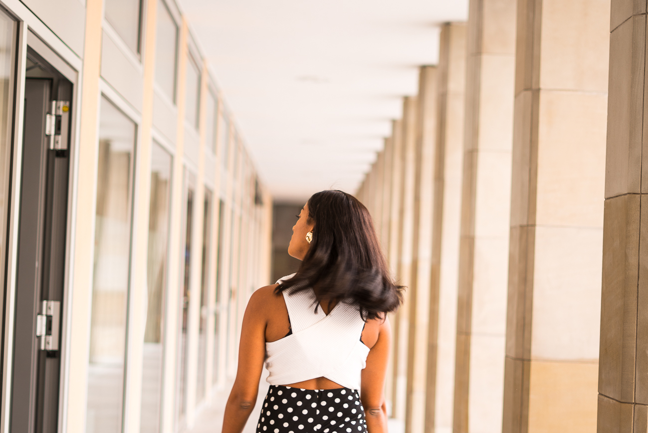 polka dot culotte crop top