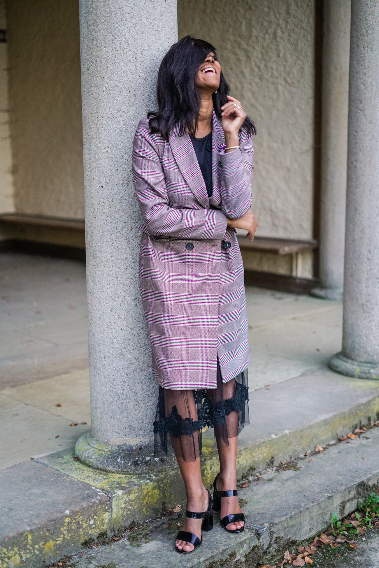 checked coat and lace mesh dress