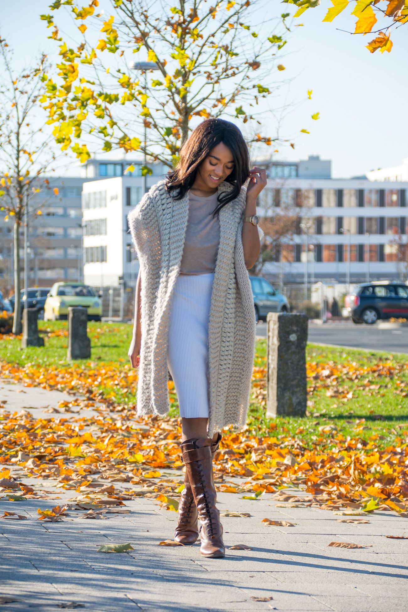 beige knitwear in winter lace leather boots