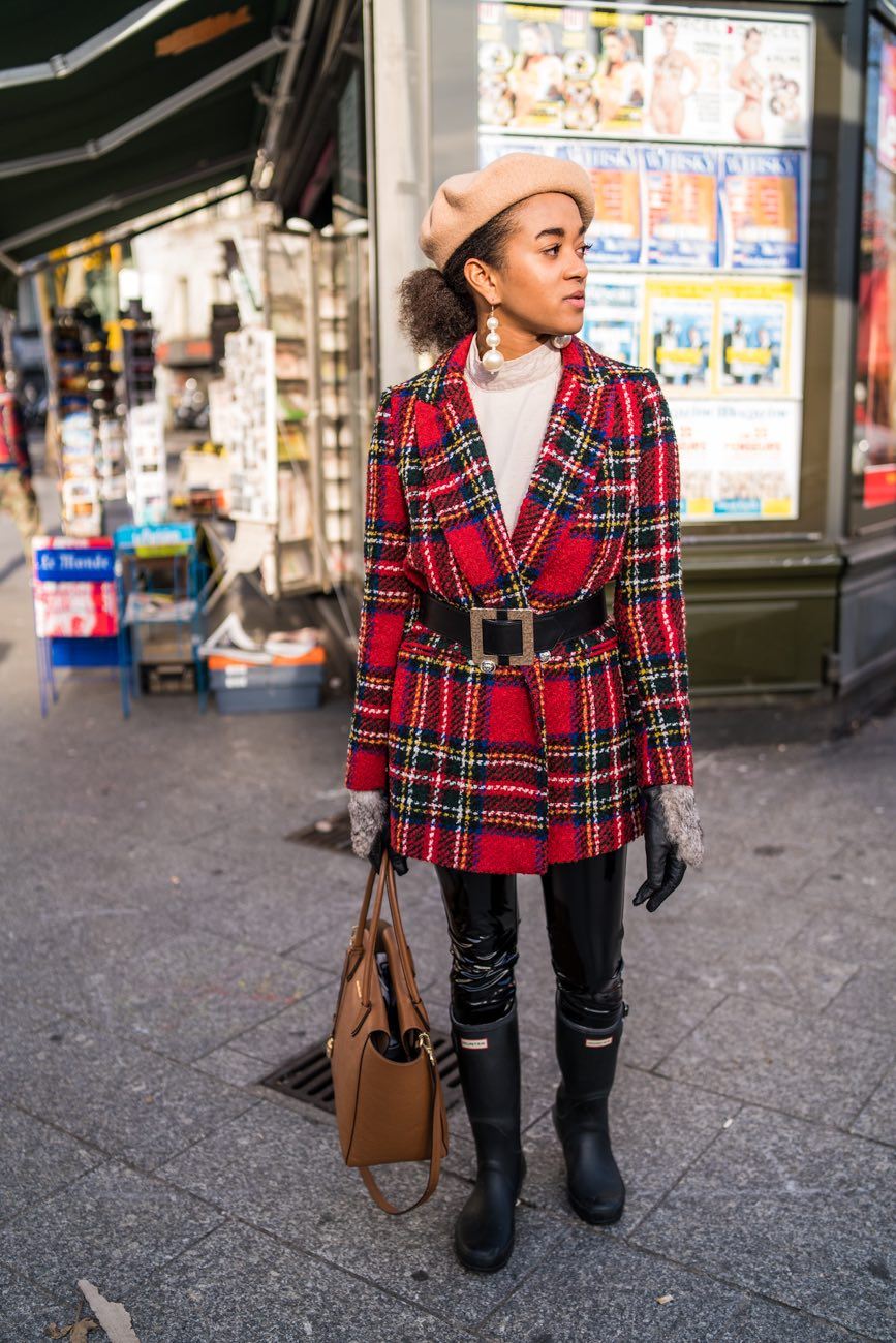 Checked Blazer and Belt in Paris Blogger