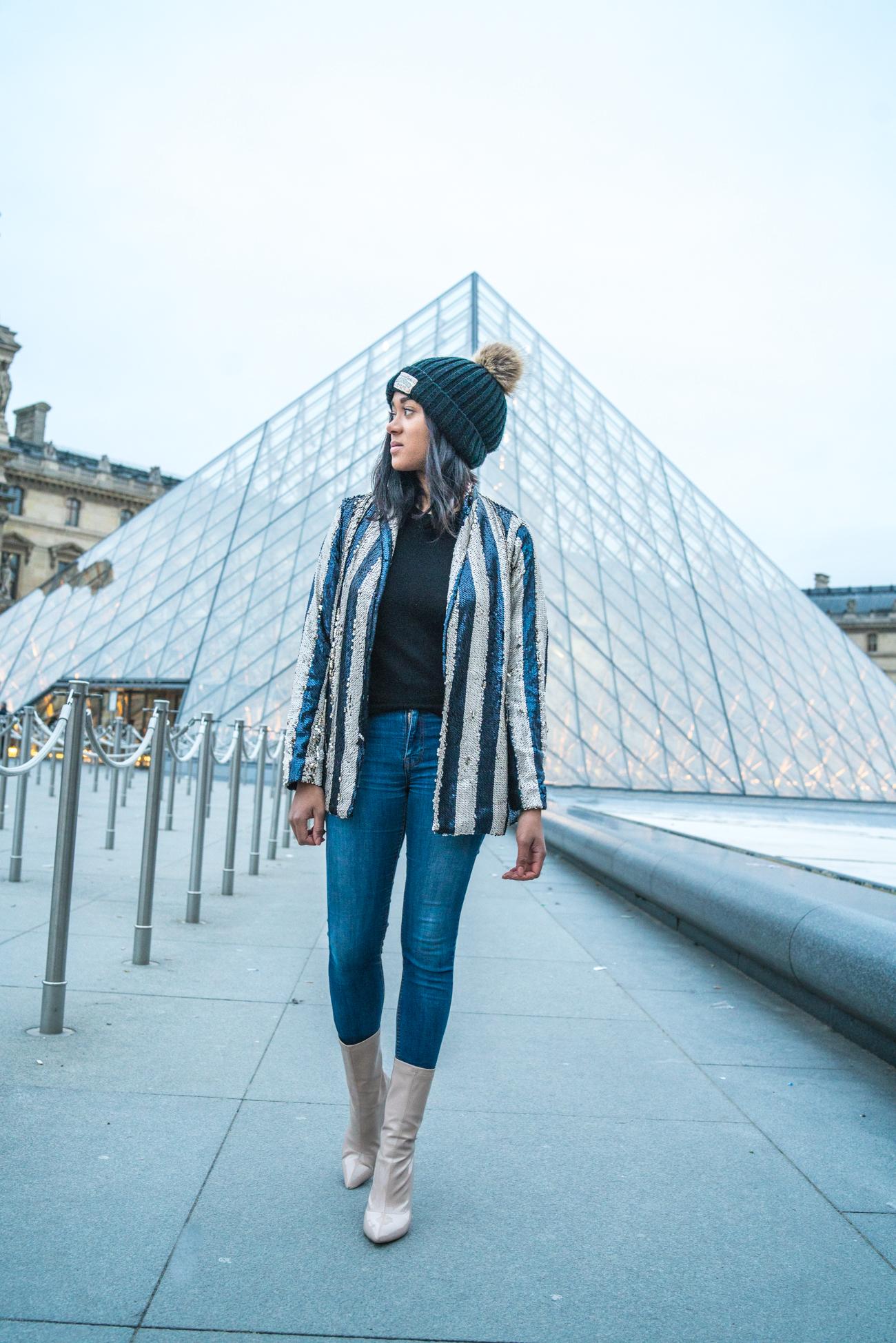 Pailettenjacke New Year Resolutions Louvre Pailetten sequin blazer