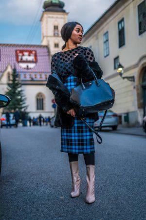checked blue midi skirt