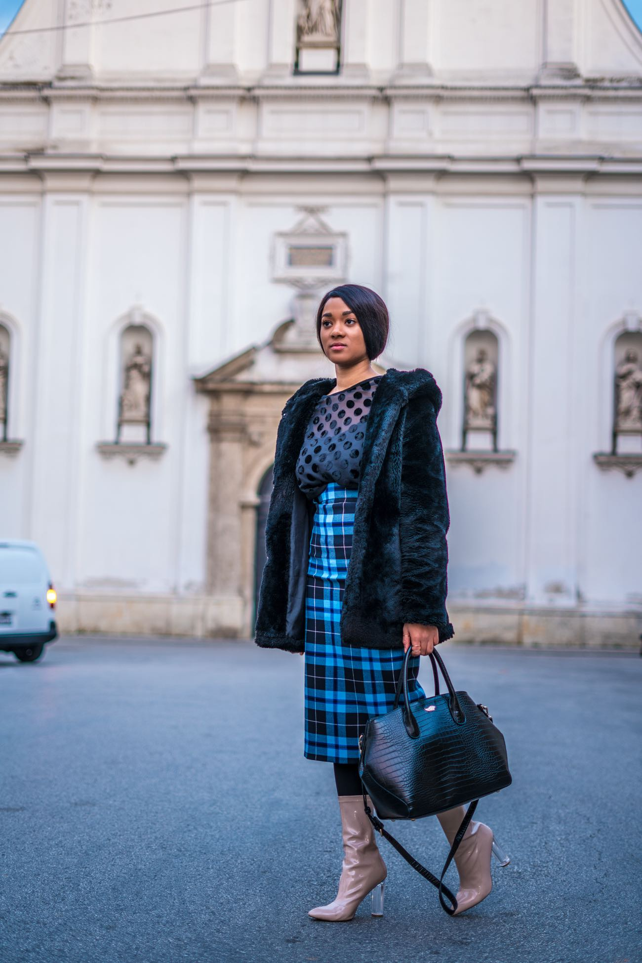checked blue midi skirt