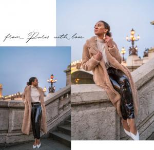 Paris in Winter Pont Alexandre Teddy Coat Patent Leather25
