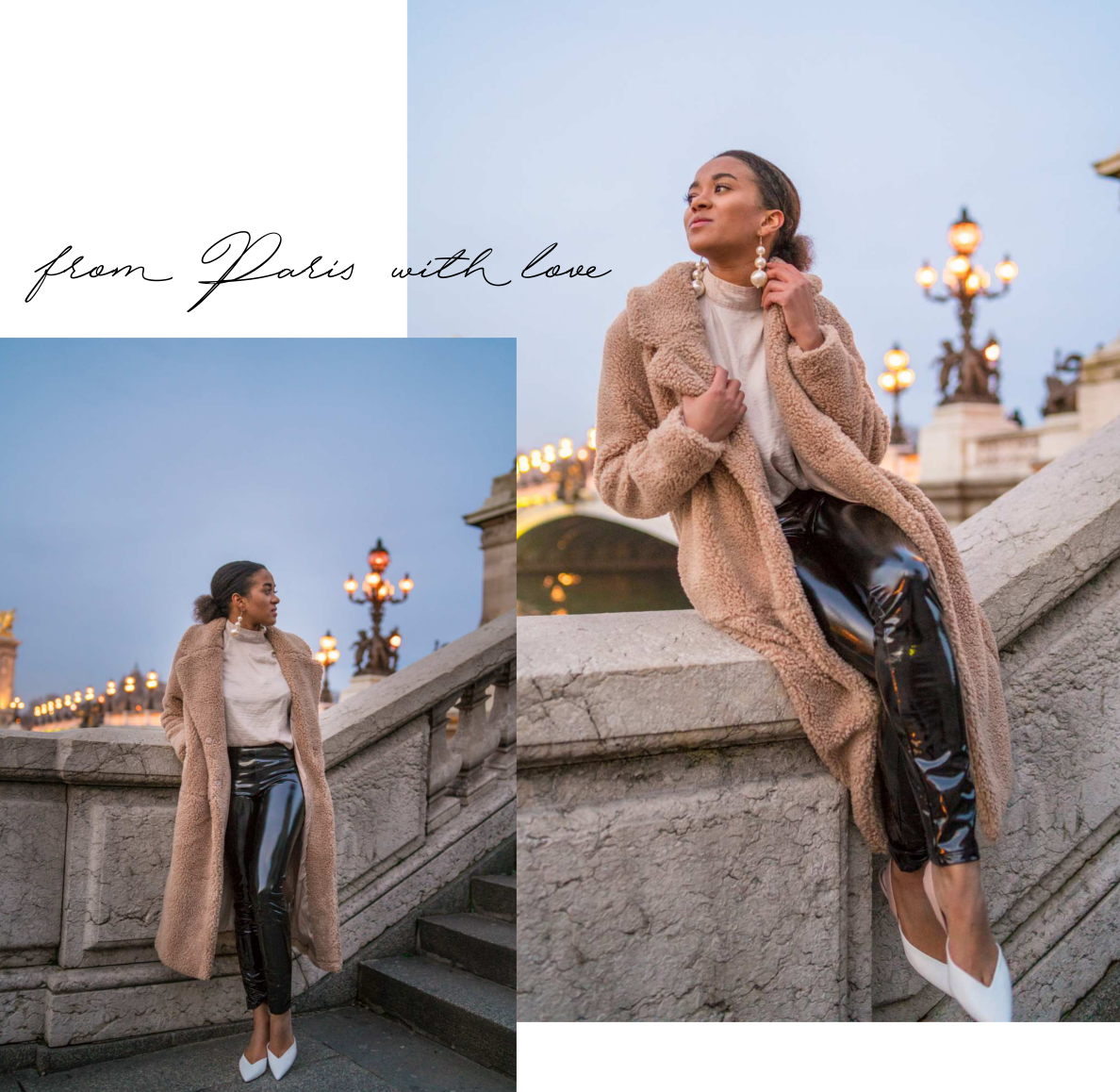 Paris in Winter Pont Alexandre Teddy Coat Patent Leather25