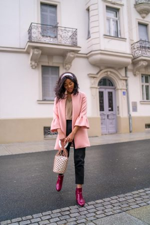 pink coat feminine look ruffles coats to wear in spring