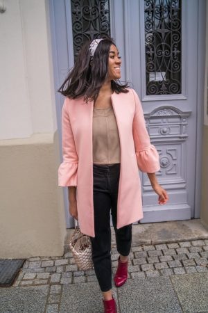 pink coat feminine look ruffles