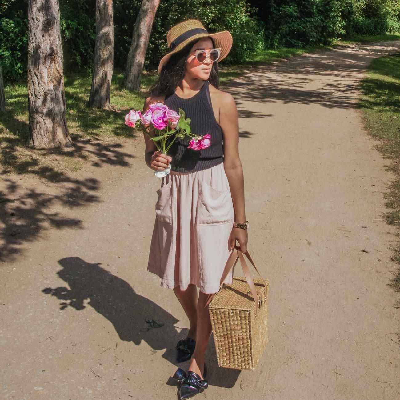 spring wardrobe skirt picnic basket