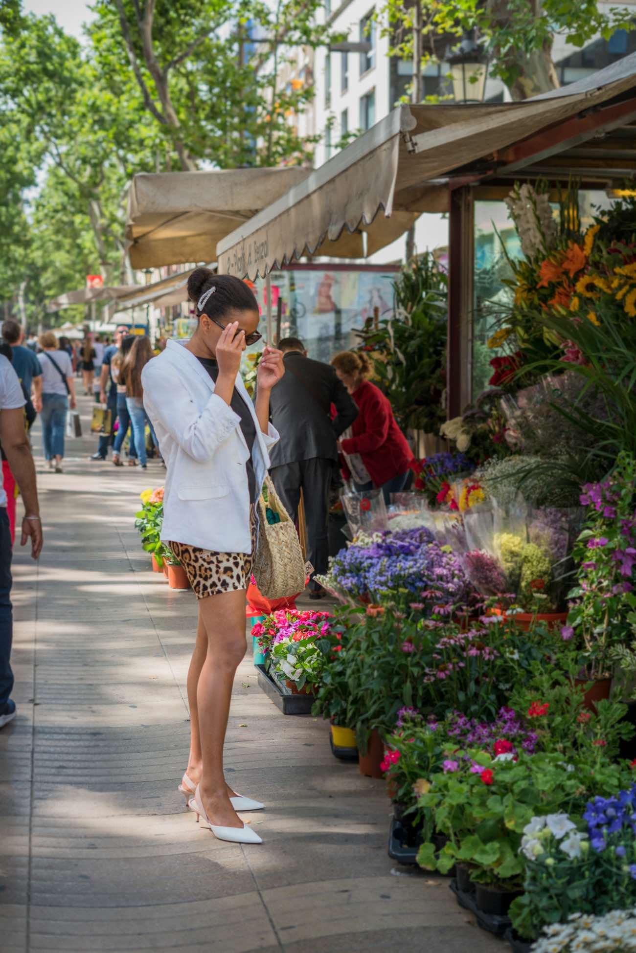 Las Ramblas flower shot fashion blogger