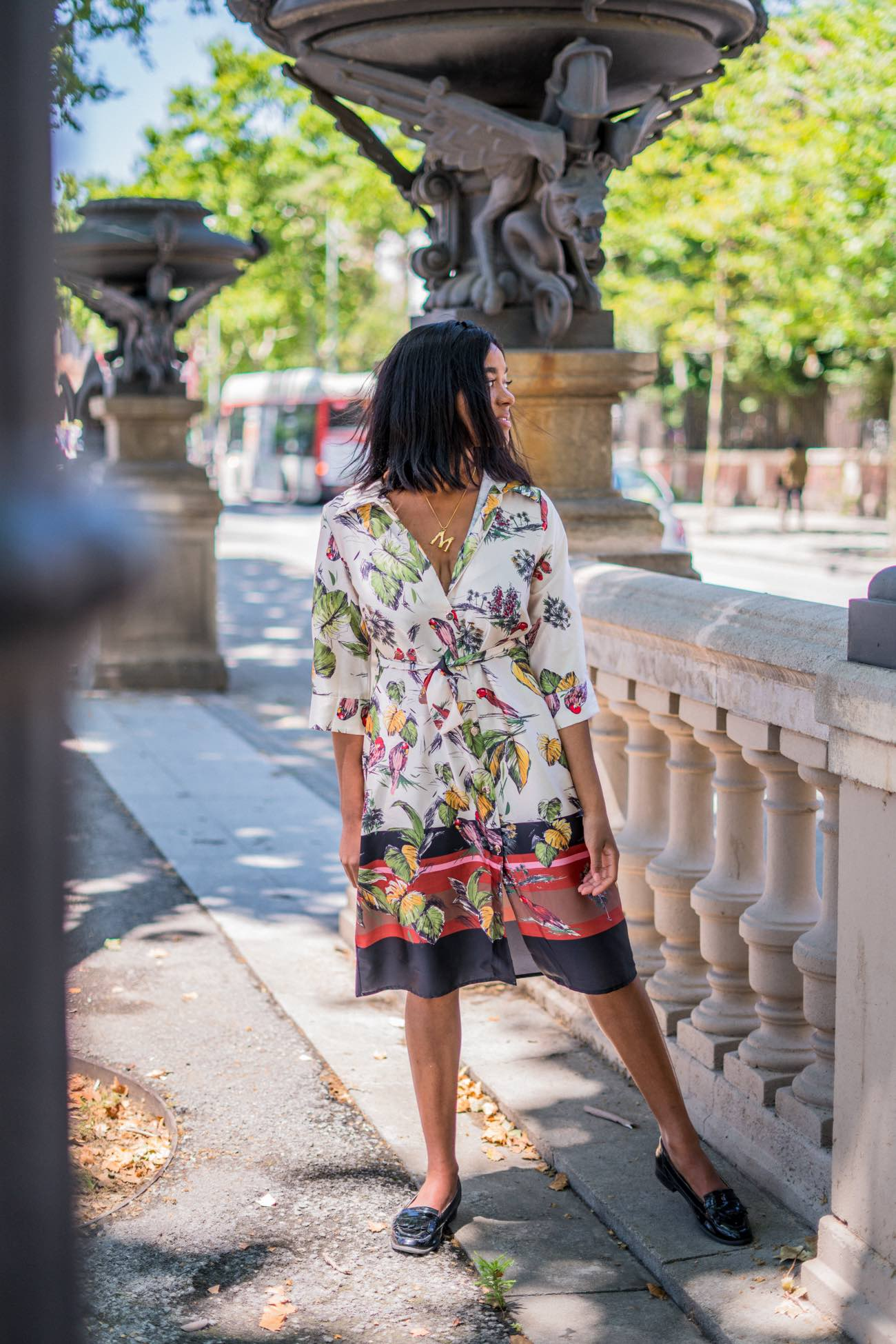 Pretty girl in a floral shirt dress - compare yourself to others