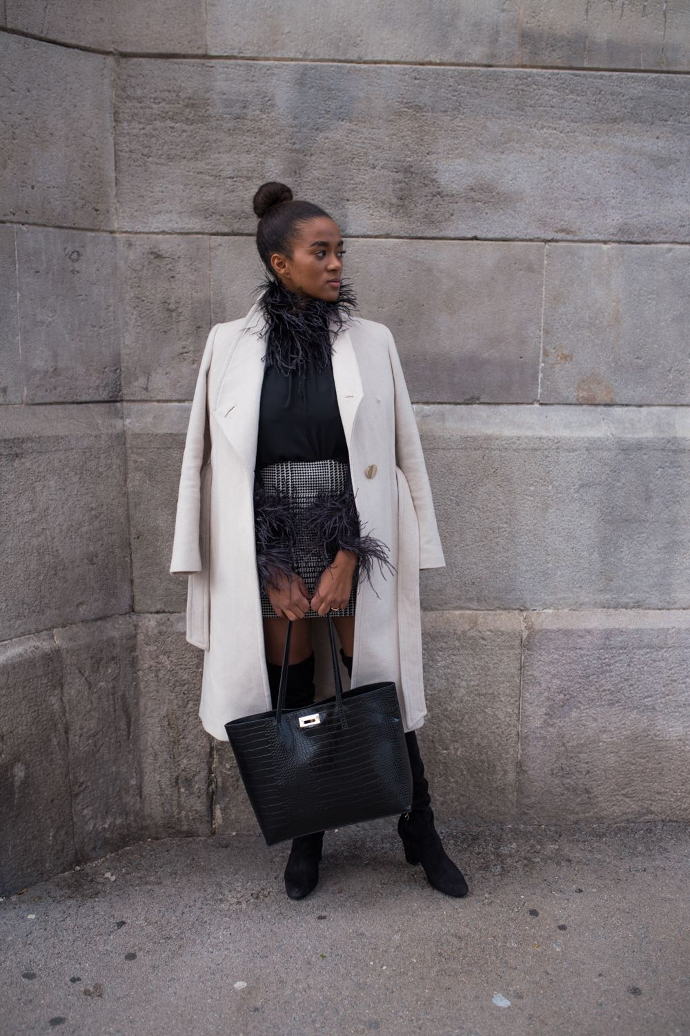 Black and White Winter Outfit: Mixed Pattern