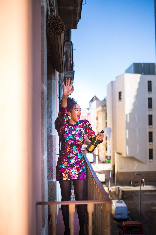 pailettenkleid mode blogger barcelona