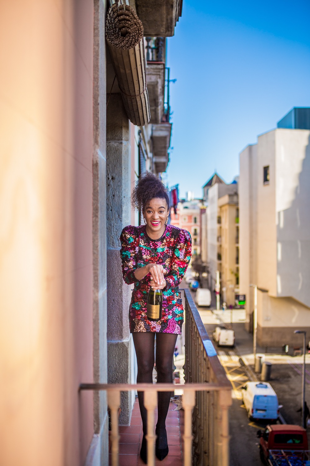 colourful sequin dress Zara Barcelona Fashion Blogger New Year's resolution