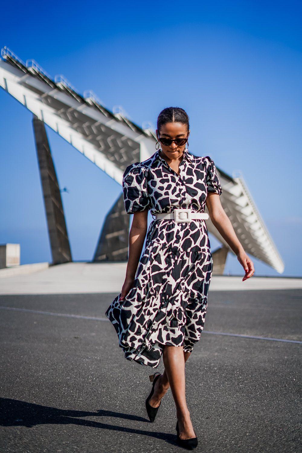 Black and white midi dress german fashion blogger deutscher Modeblog
