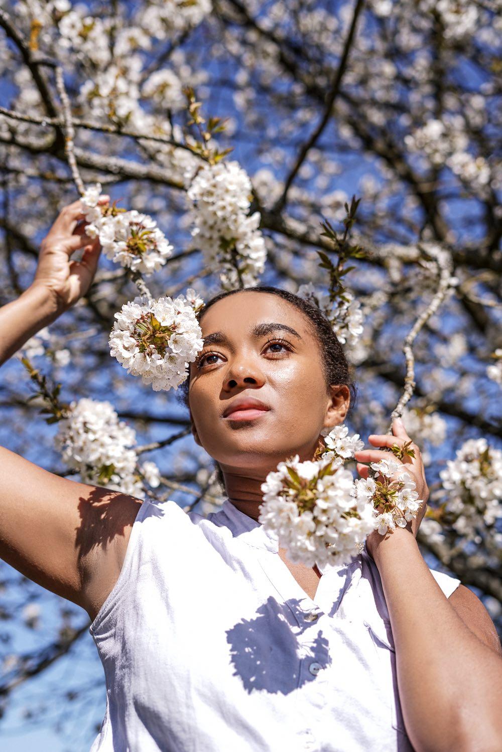 cherry blossoms fashion shoot beauty shooting