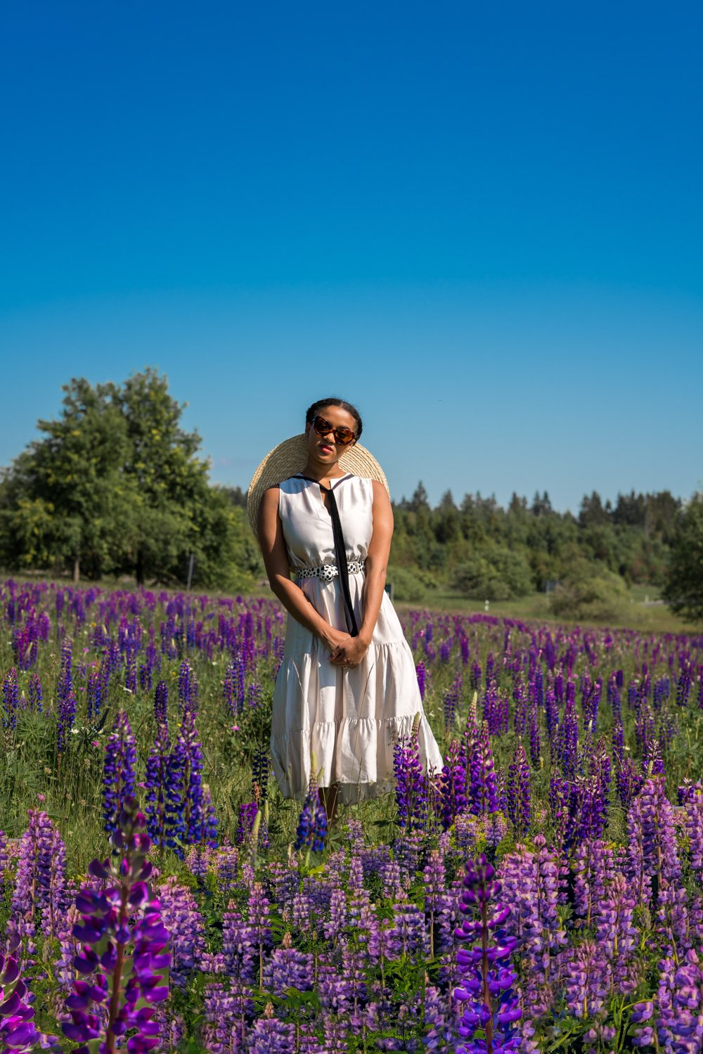 photo idea shooting in a flower field