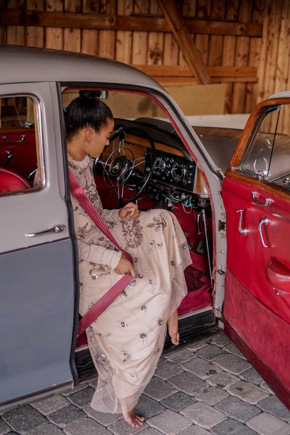 road trip in europe vintage car