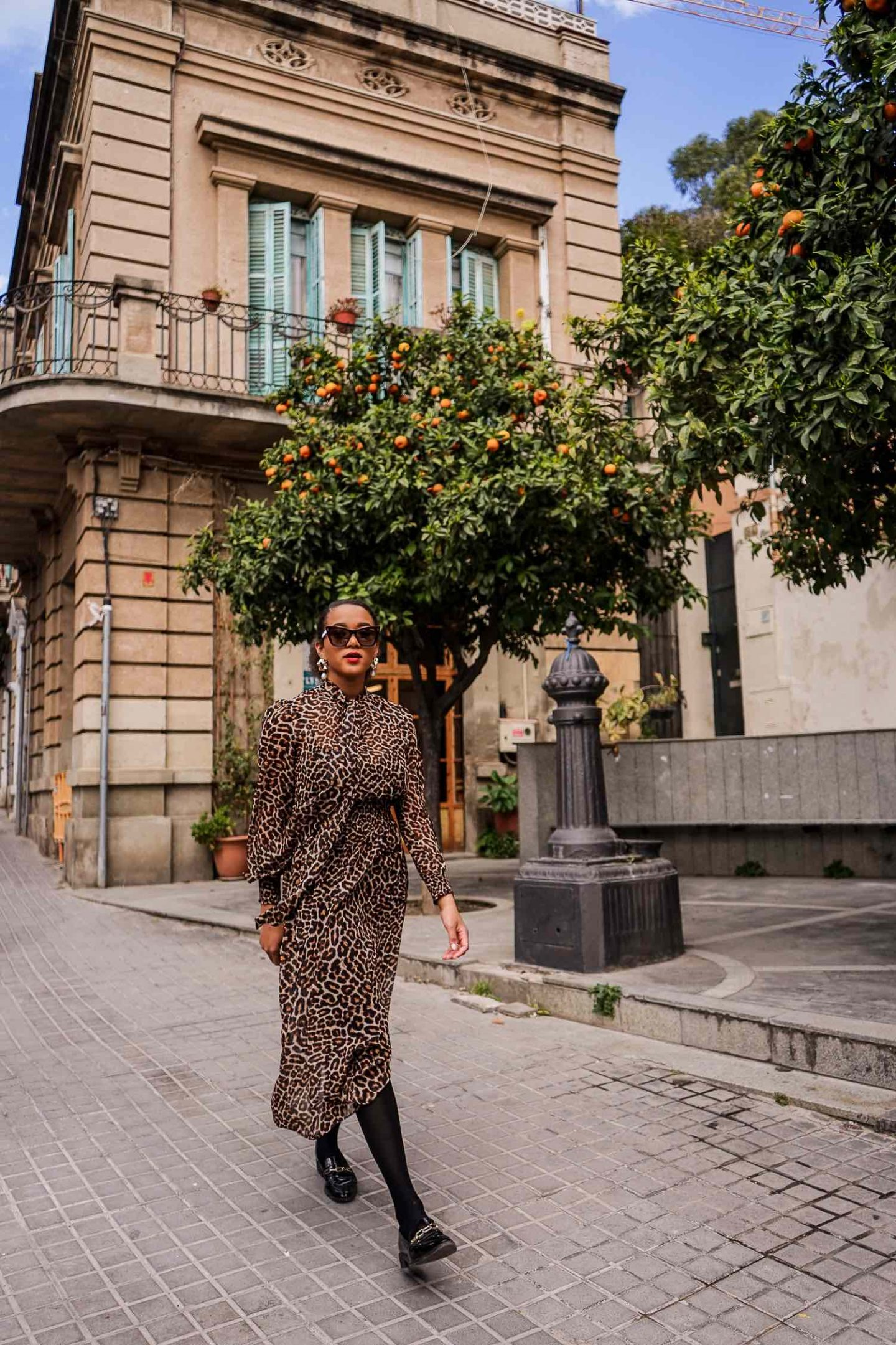 Leopard print dress for Fall Barcelona Fashion Blogger