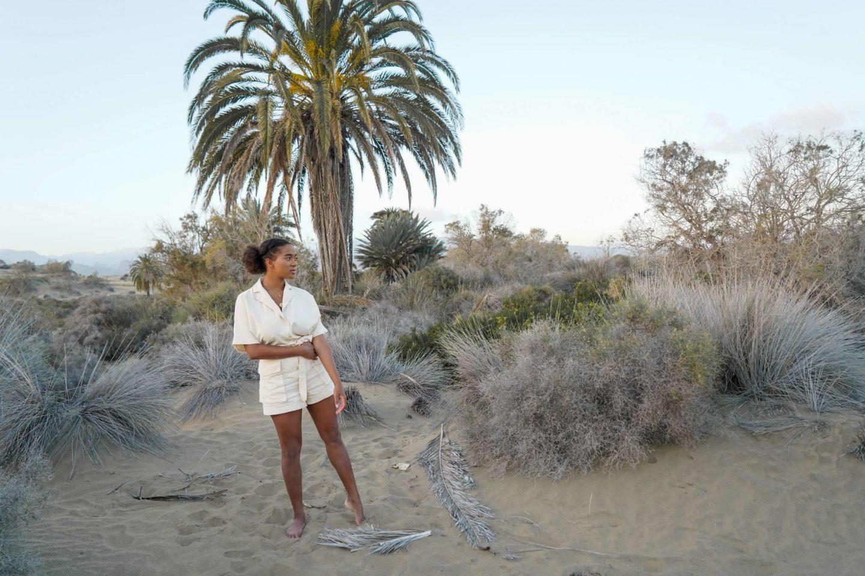 elegant beige jumosuit, Gran Canaria Desert Pictures, Canary Islands