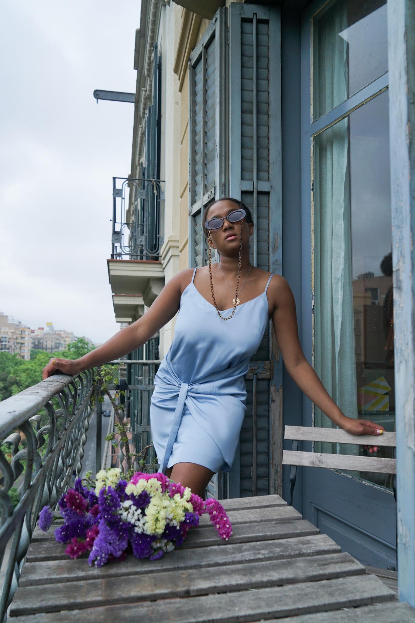 Blue satin dress, Blue Slip Dress