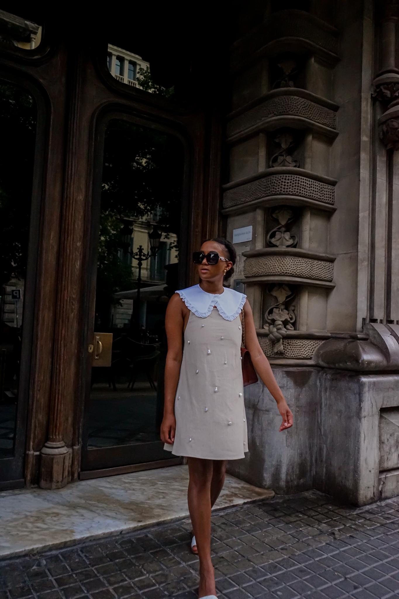 white pilgrim collar look styling street fashion