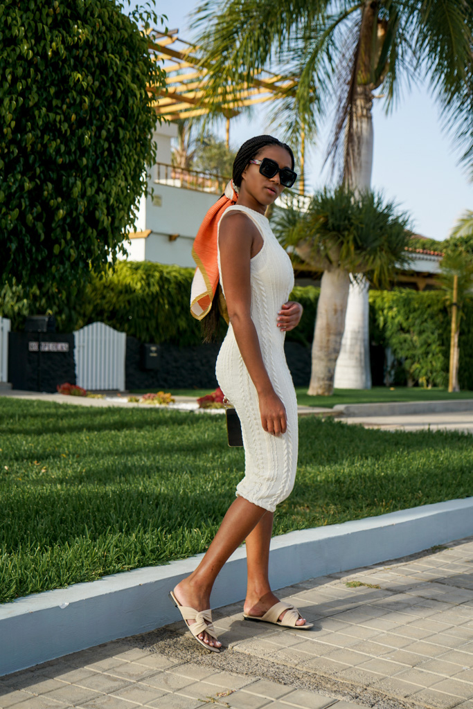 white knit dress outfit fashion blogger street style