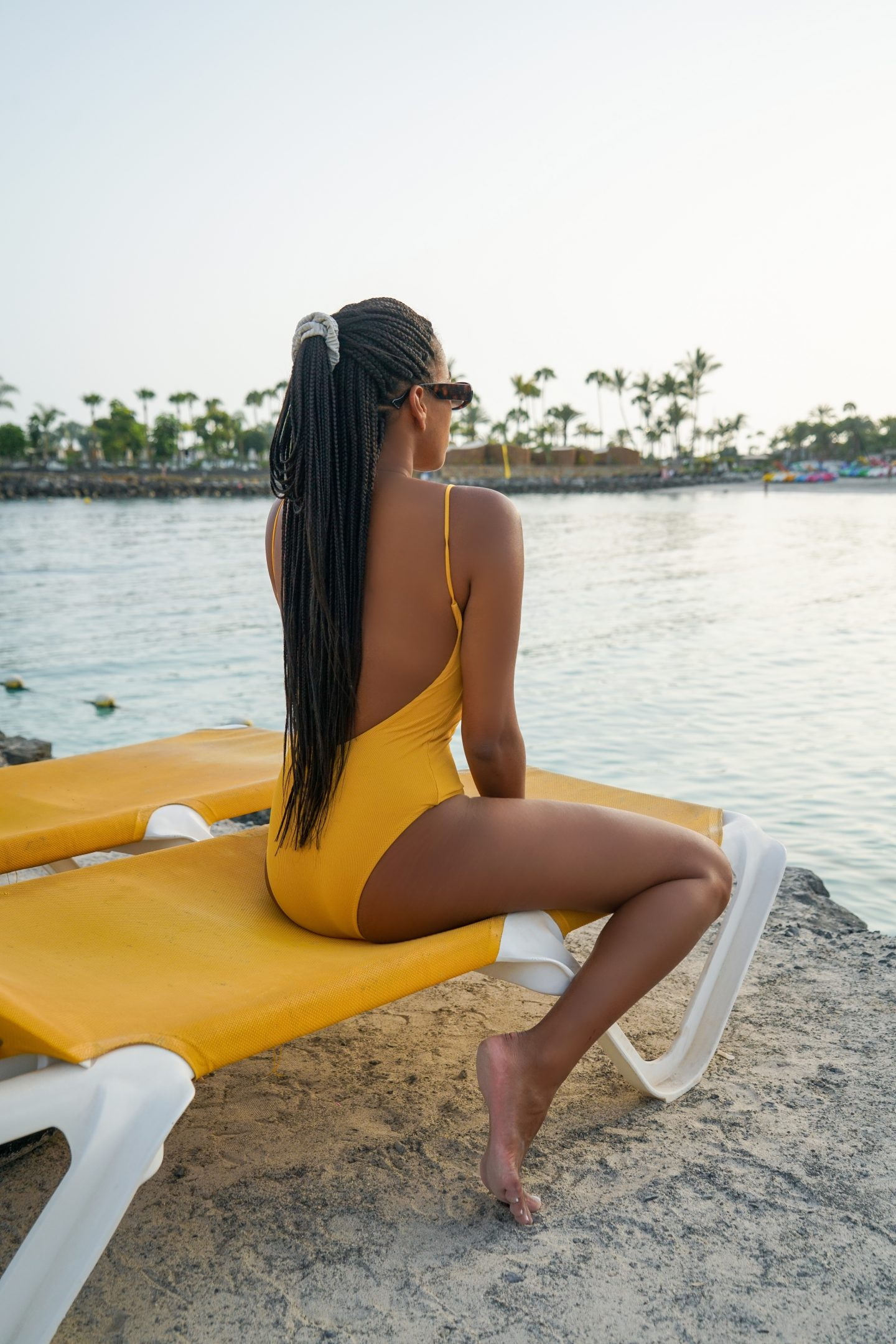 Wearing a Yellow Bikini swimsuit